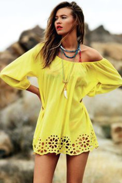Dress: yellow, beach, offshoulder, flowy, loose, cover up - Wheretoget