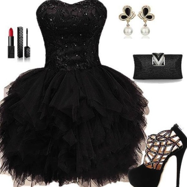Puffy Black Lace Ball Gown Sweetheart Neckline Mini Homecoming Dress