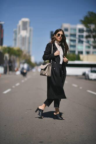 coat black coat long coat white top tumblr top lace top white lace top shoes mules black shoes denim jeans cropped jeans bag sunglasses