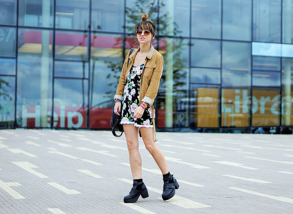 laughin in the purple rain blogger romper shoes bag jacket sunglasses