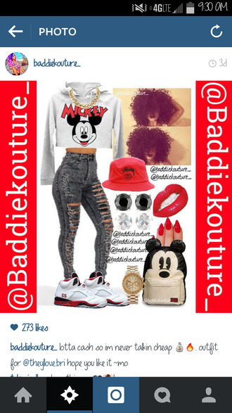 bag mickey mouse mickey jeans top red lime sunday