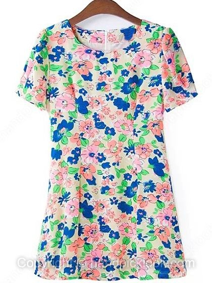 Beige Round Neck Short Sleeve Colorful Floral Print Dress - HandpickLook.com