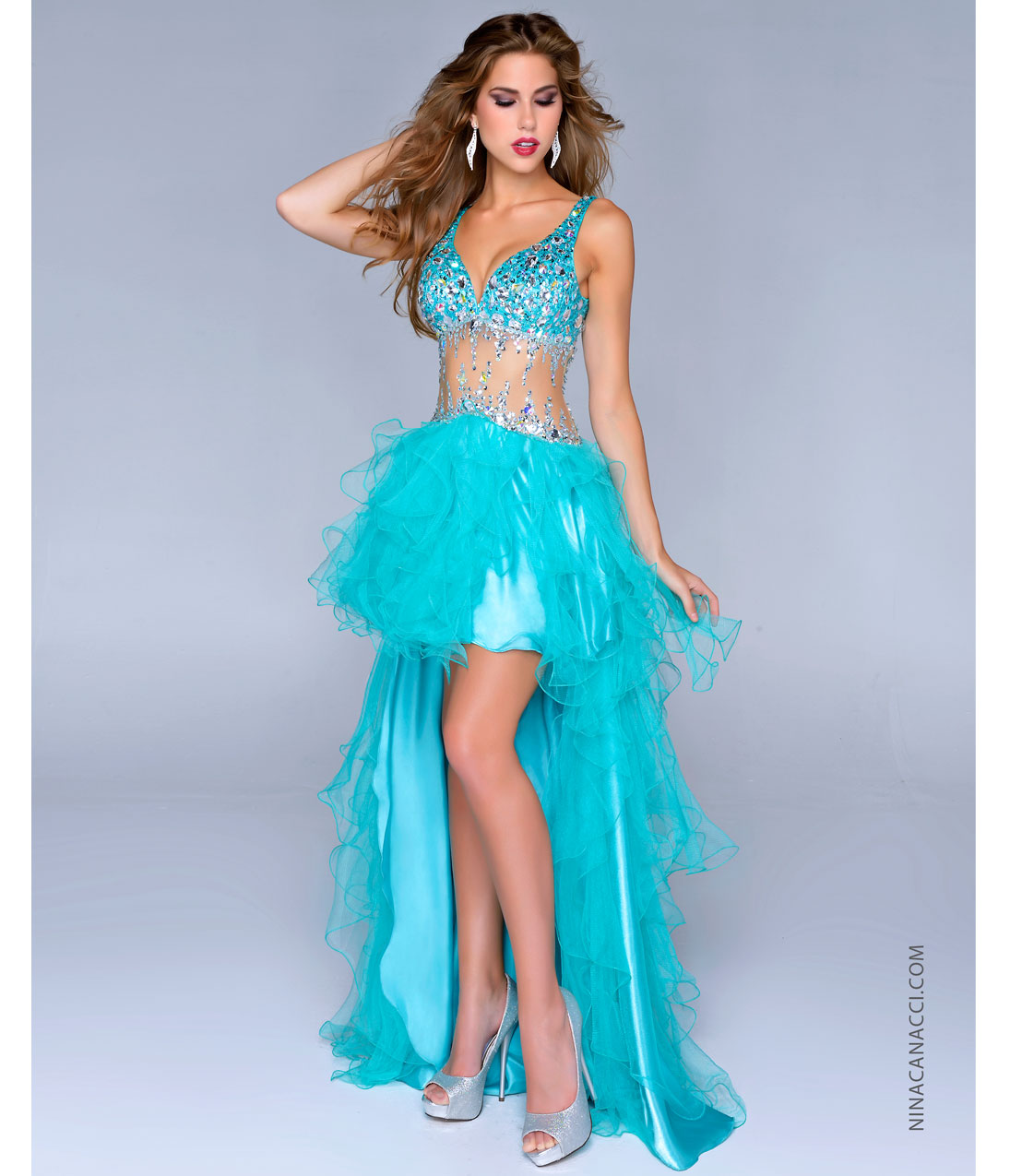 Canacci 2014 Prom Dresses - Teal Satin & Tulle Illusion High-Low ...
