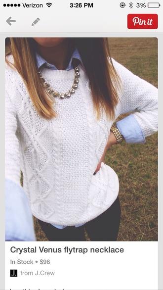 sweater white sweater bib necklaces collared shirts richgirlscloset cute watch fashion fall sweater