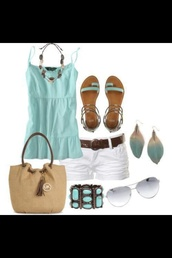tank top,shoes,flat sandals,ankle strap,turquoise,mint,shorts,sunglasses,shirt,bag,summer outfits,teal shirt