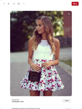 dress floral white red