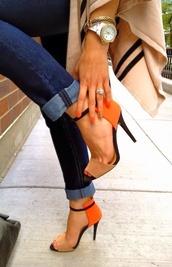 shoes,high heels,orange,black,nude,cute high heels,nude high heels,cream high heels,strappy sandals,cream,girl,tumblr,footwear,classy,instagram,sandals,jewelry bracelets,bangle,sweater,saldal heels,fall love,jeans,heels,fashion,orange jeans,jewels,rust,tan orange strappy sandle heels,straps,style,orange is the new black,orange shoes,black heels,high heel sandals,orange tan black shoes heels,nude dress,orange and black,nude orange heels