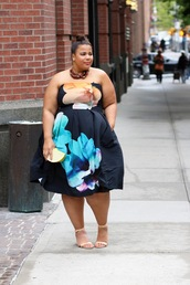 garner style,blogger,dress,shoes,jewels,plus size dress,midi dress,floral,floral dress,clutch,sandals,sandal heels,high heel sandals,nude sandals,plus size,curvy,plus size bridesmaid,plus size bridesmaid dress