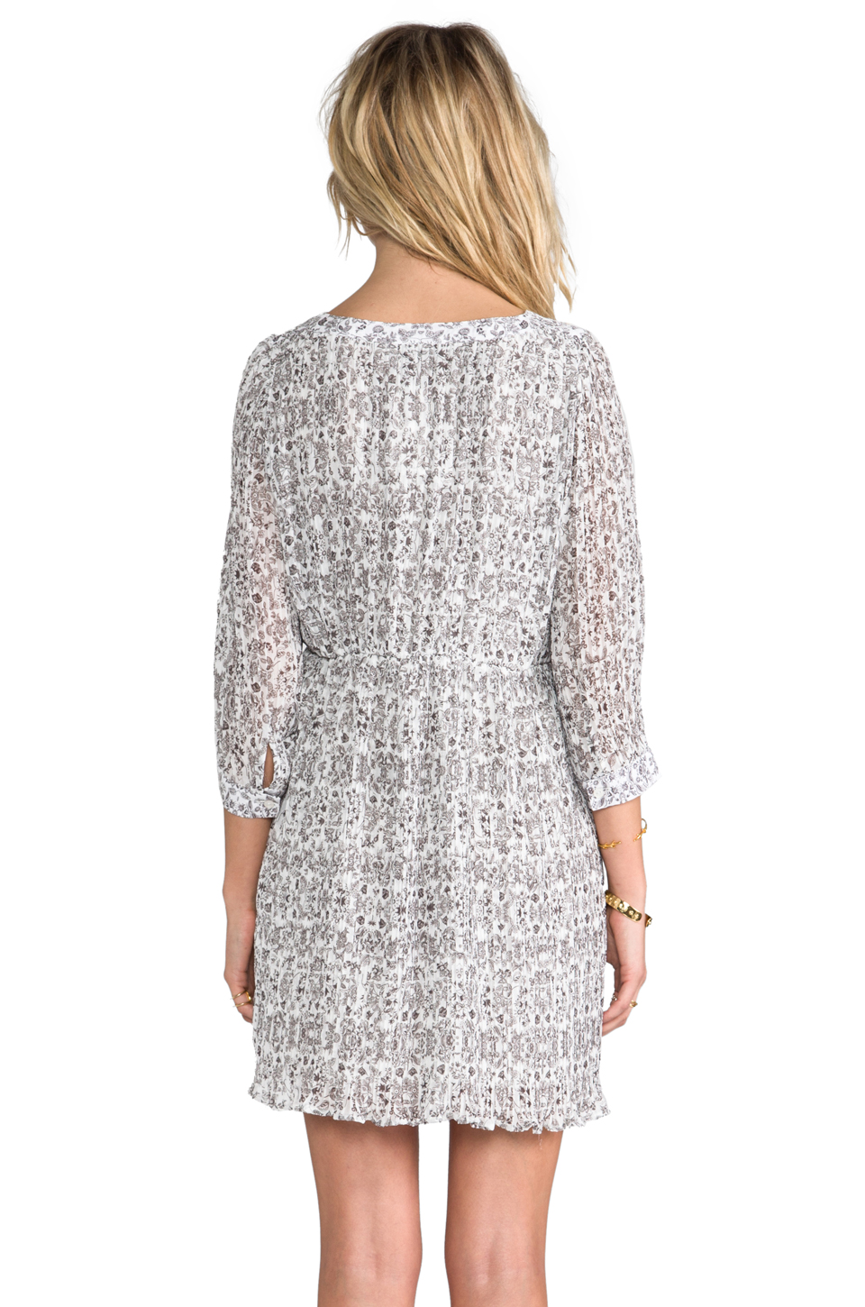 ANINE BING Floral Print Dress in Grey | REVOLVE
