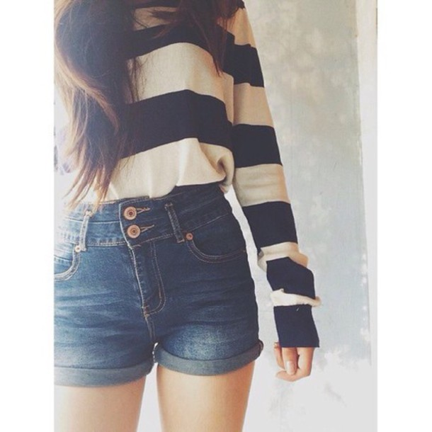 top shirt blue sweater black and white striped sweater High waisted shorts