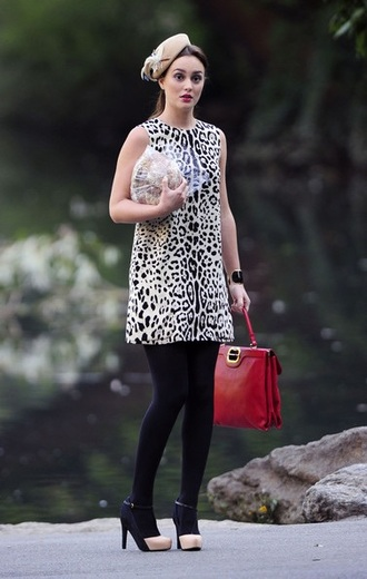 dress blair waldorf gossip girl leighton meester animal print red bag