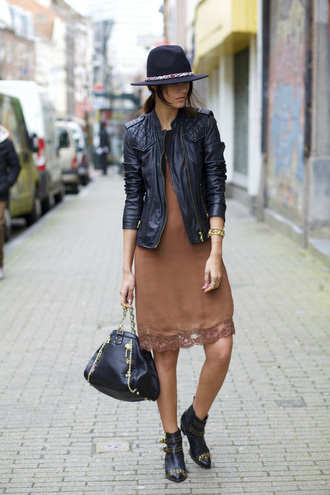 from brussels with love blogger dress hat jewels nude dress leather jacket silk dress spring outfits