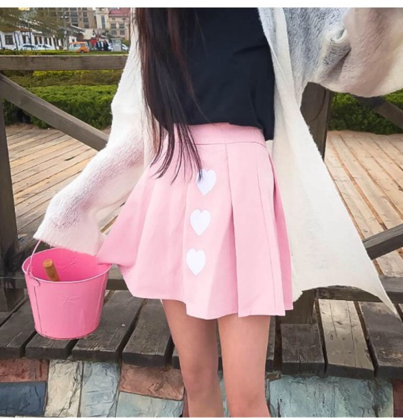 skirt girly pink mini mini skirt tumblr heart
