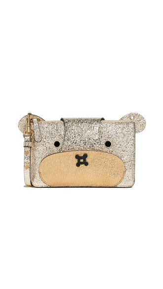cross bear pouch light gold bag