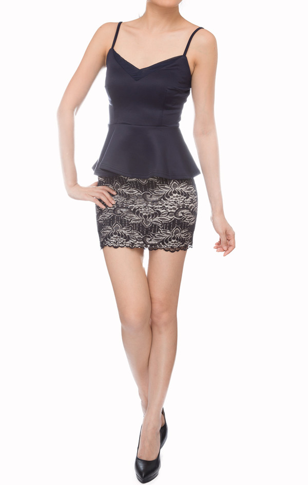 women basic dark navy mesh peplum covetable tank top