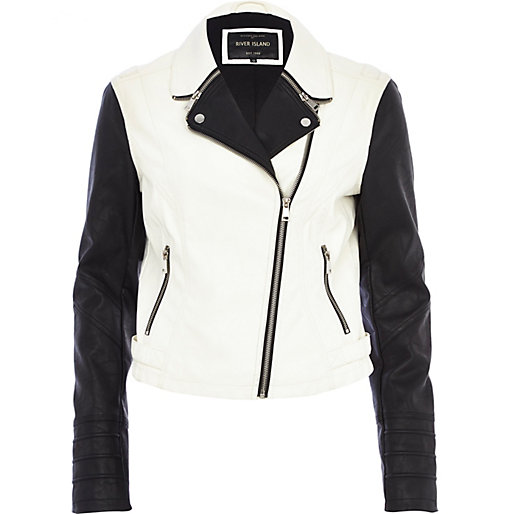 and white colour block biker jacket - biker jackets - coats