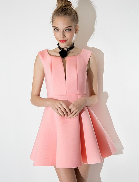 Dress: fit and flare dress, pink dress, pastel dress, party dress ...