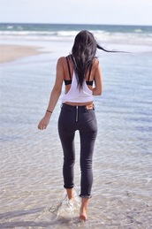 pants,tight black jeans,skinny jeans,black pants,zip,acne studios,t-shirt,jeans,black,high waisted,shirt,tank top,white,bra,bralette,white tank top,cut-out,summer,backless,backless shirt,white racer back,loose tank,underwear,top,aene,dark jeans,back zipper,charcoal