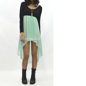Pretty mint long sleeve high low dress sheer flowy skirt ballet dance fashion