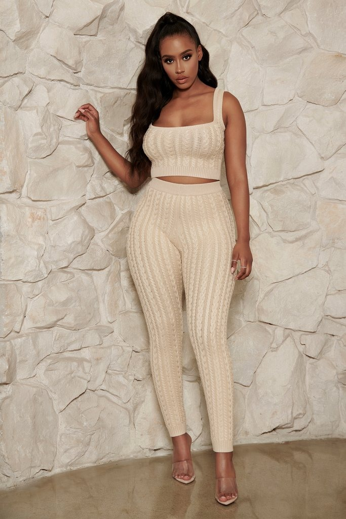 Penelope Cable Knit Leggings - Nude