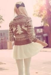 skirt,winter outfits,light brown,deer,tights,cream,top,shirt,white,bow,hair,skater skirt,cute skirt,midi skirt,short skirt,mini skirt,white skirt,sweater,grey,grey sweater,grey top,hair bow