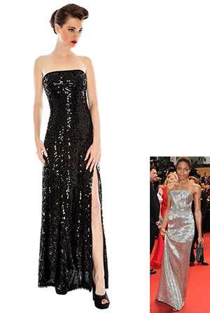 Elegant Split Sequin Film Star Dress in the style of Naomie Harris