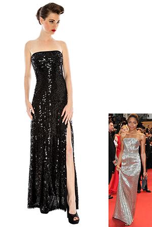 Elegant Split Sequin Film Star Dress in the style of Naomie Harris