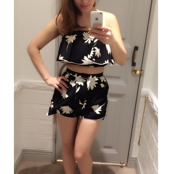 feclothing                  - Daisy flowers strapless flounced Bra Camisole   Shorts piece