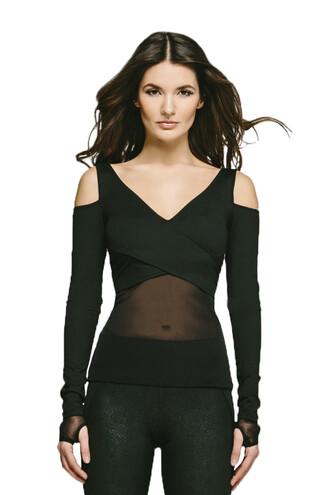 top black michi cut-out shoulder top long sleeves bikiniluxe