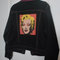 Marilyn monroe andy warhol black denim jacket with hot pink trim.