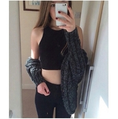 cardigan,sweater,popular sweater,outfit idea,fashion inspo,halter top,black halter top,black halter neck top,high waisted jeans,grunge,tumblr outfit,tumblr girl,phone cover,phone case iphone 5s selfie,on point clothing,trendy,stylish,style,blogger