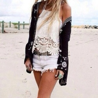 top white top cardigan black lace boho summer tank top indie tumblr white cream tan swimwear festival concert bohemian summer outfits summer shorts coachella shorts spring break t-shirt black gardigan fashion pattern white crochet top white lace top