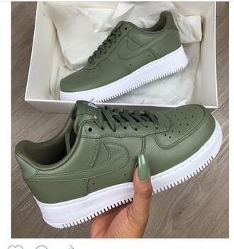 shoes nike green sneakers nike sneakers green shoes cool stylish dark green army green sportswear instagram snapchat fashion chic instachic nike air force 1 nike shoes olive green