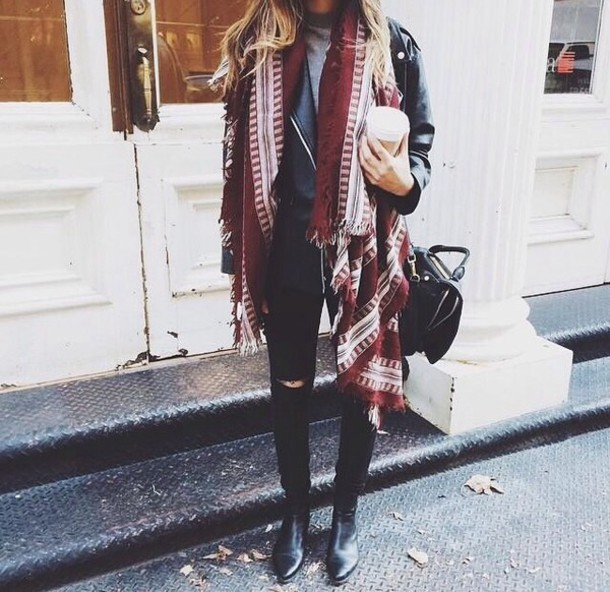 cardigan scarf red jaket shoes love bag jeans chic white ethno boho chic bohemian fall outfits oxblood burgundy tumblr tumblr girl fashion fall outfits alternative leather jacket