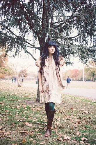 folk jacket blogger jag lever scarf brown leather boots faux fur jacket