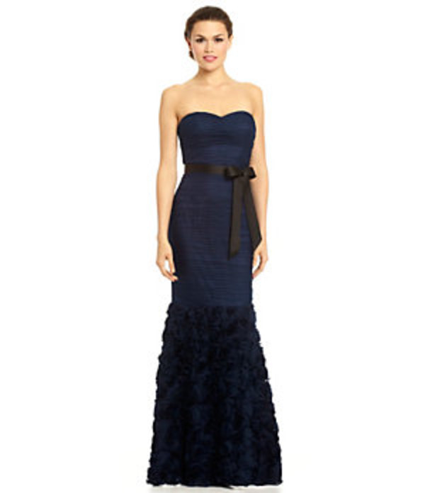 dress dark blue black bow ruffle