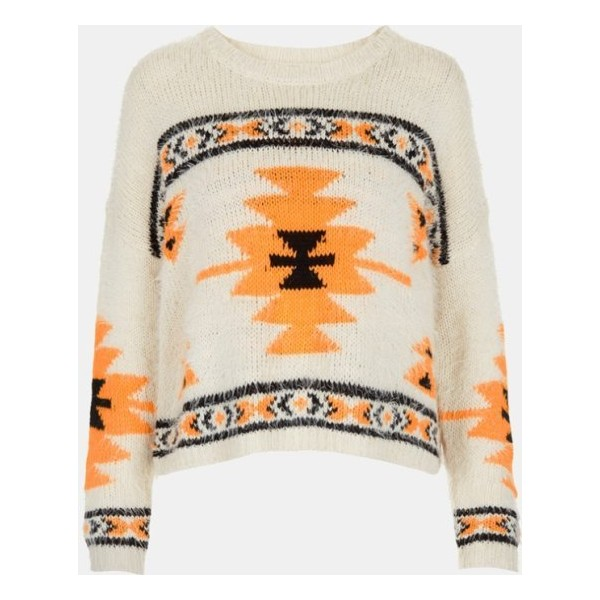 Topshop Geometric Print Sweater Cream 6 - Polyvore