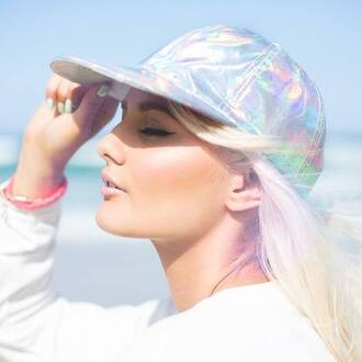 hat silver anarchy street hair/makeup inspo white holographic