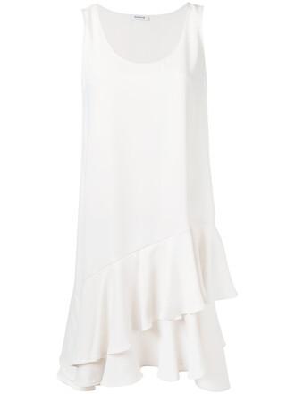 dress sleeveless ruffle women white