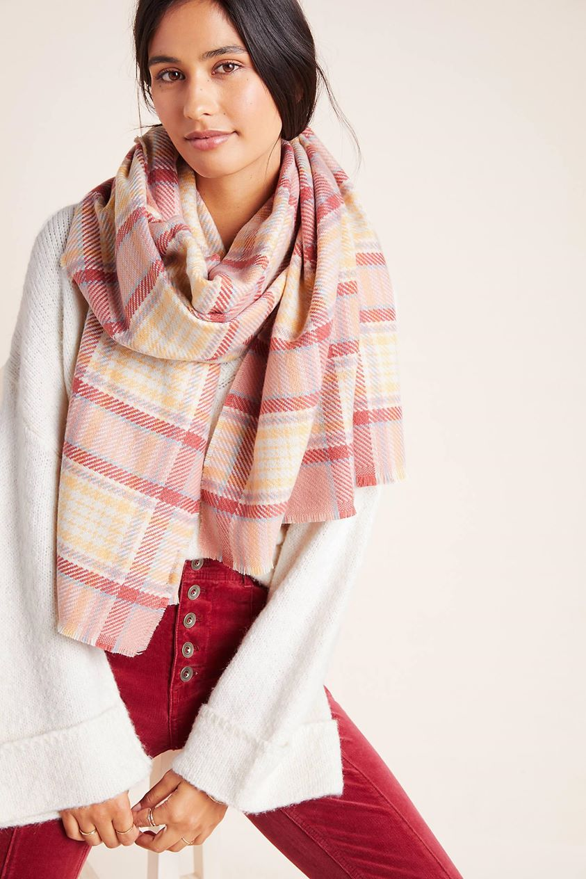 Cordelia Plaid Scarf by Anthropologie in Pink