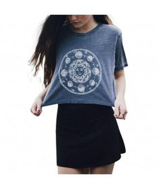 top moon grey hip hipster crop tops goth grunge dark grunge grunge t-shirt hippie chic it girl shop trendy punk tumblr style