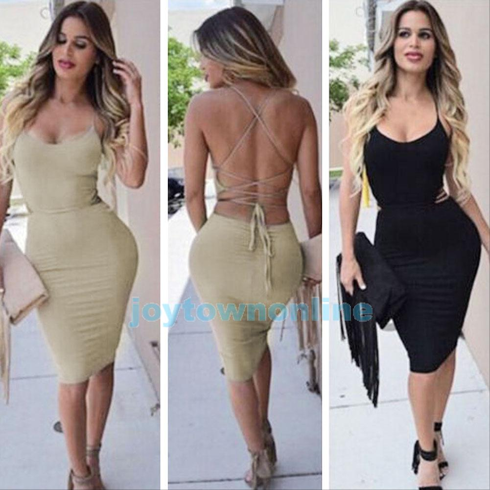 Bodycon Dress Women Sleeveless Backless Bandage Party Cooktail ...