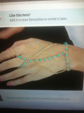 jewels turquoise bracelets ring chain link beaded