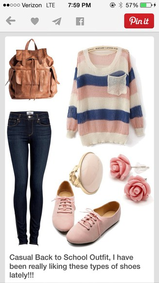 stripes shoes knit winter outfits fall striped bag jeans