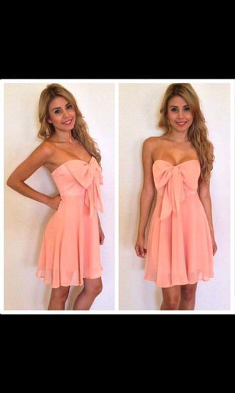 dress peach dresses bows cute dress summer dress