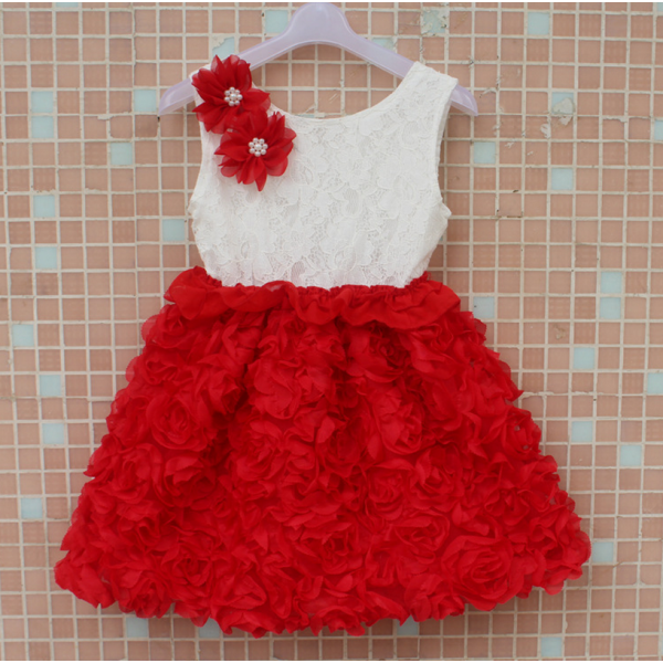 Designer Fabulous Red and White Rose Flower Party Dress for Baby Girls