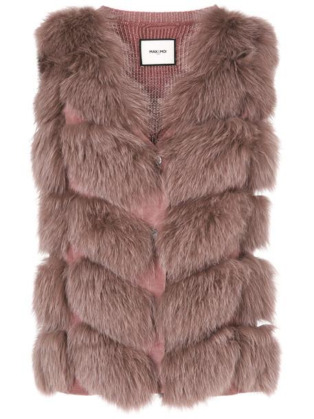 Max & Moi vest fur vest sleeveless fur women wool purple pink jacket