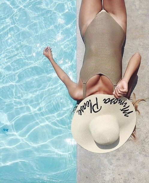 hat customized beach hat sun hat pool party pool swimwear one piece swimsuit metallic swimsuit metallic one-piece big hat