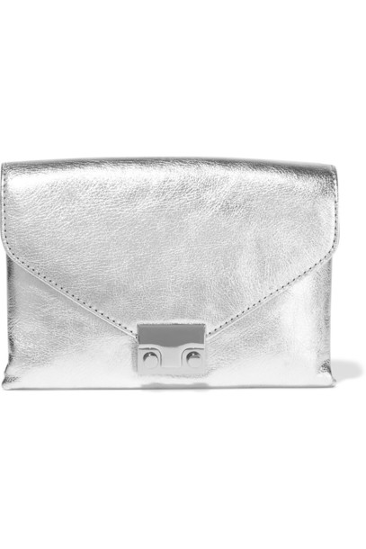 Loeffler Randall leather clutch metallic clutch leather silver bag