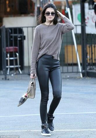 sunglasses kendall jenner handbag fluffy sweater leather leggings high top sneakers black sneakers leggings jeggings pants red lime sunday